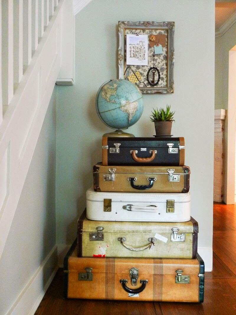 Vintage Suitcase Stack End Table