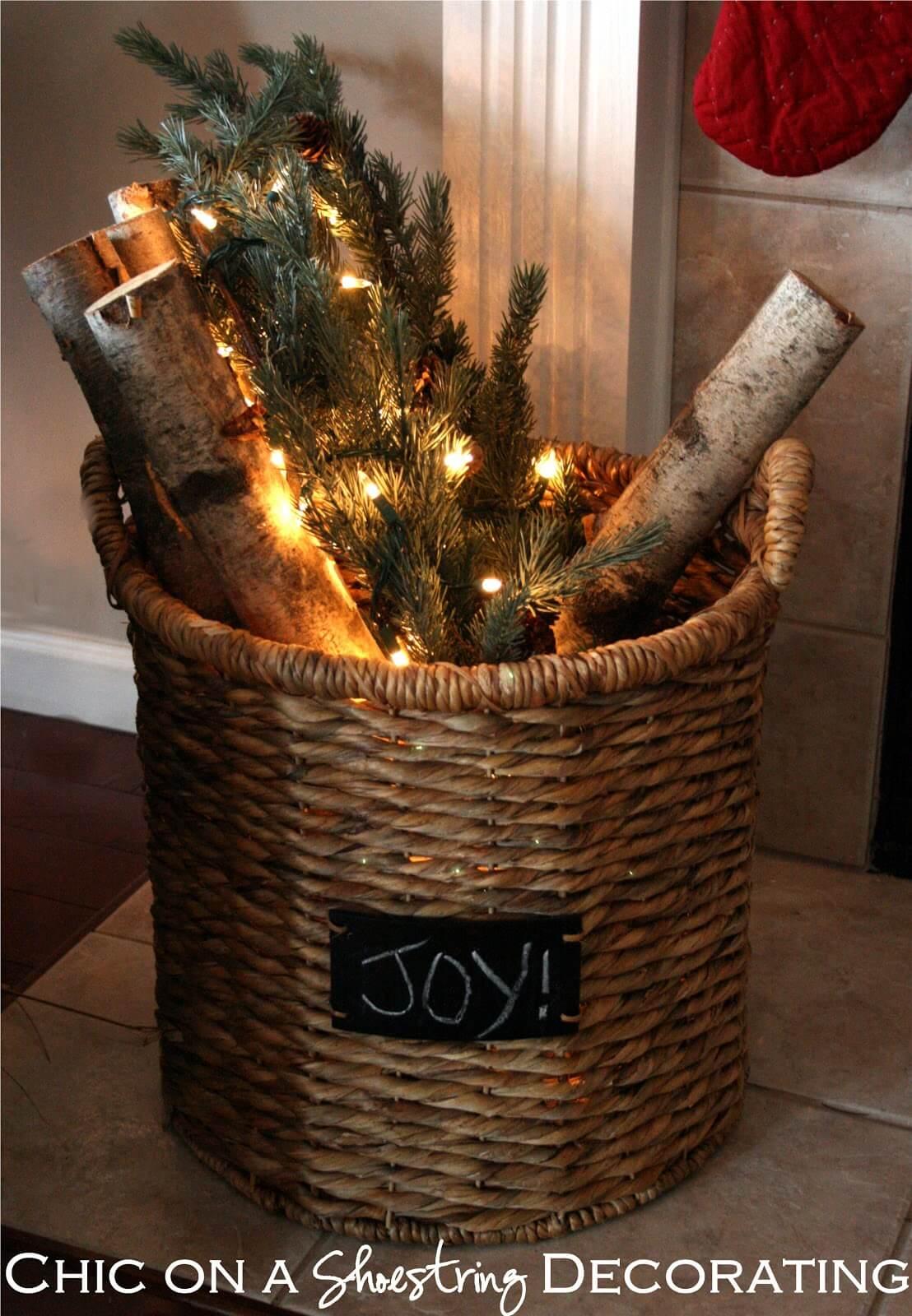 """""""Joy"""" Festive Firewood Basket Decor"""