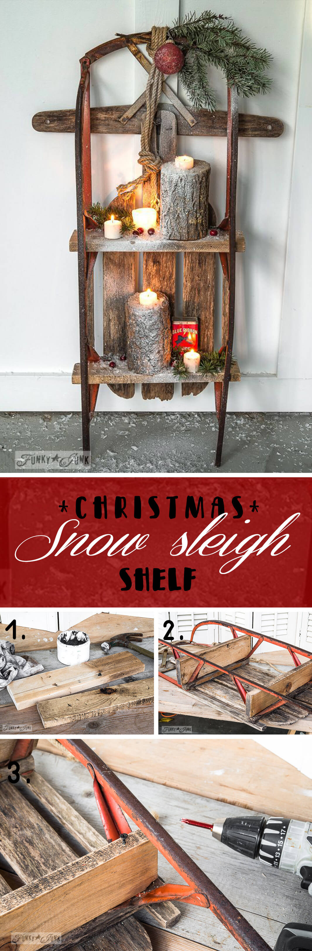 Vintage Sleigh Christmas Shelf Display