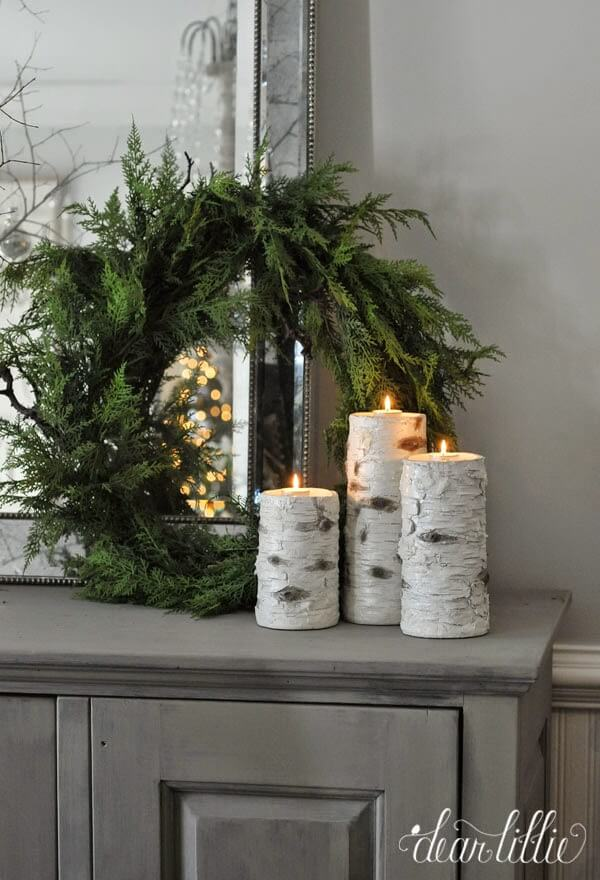 faux birch log candle holders - Christmas Log Candle Holder Decorations