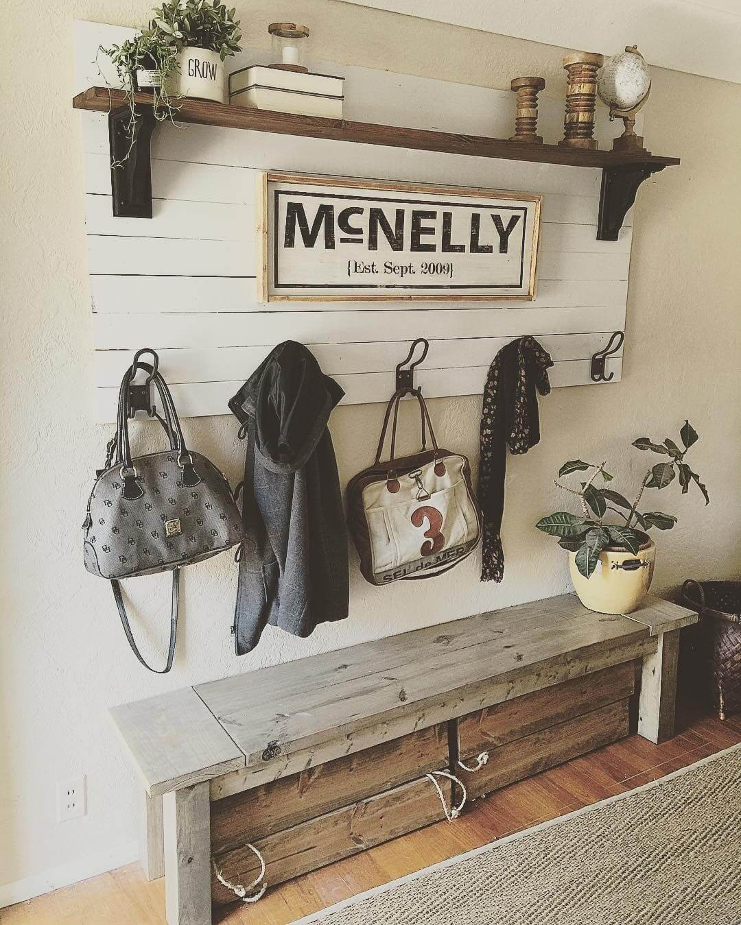 Personalized Mud Room Accessory Rack