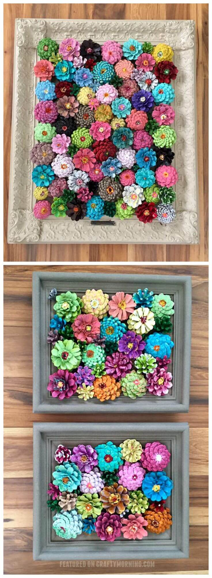 Vivid Pinecone Flowers In Rectangular Arrangement
