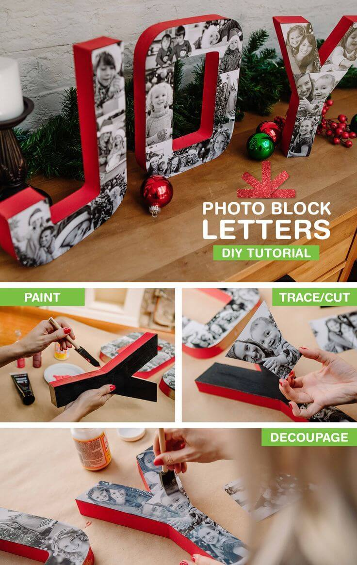 Photo-covered Letters Spell Joy