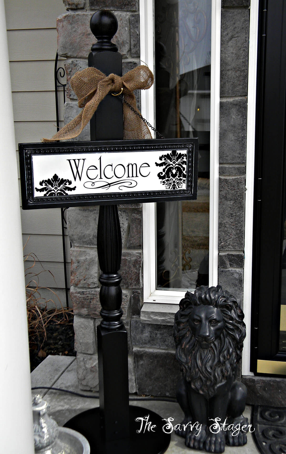 Baroque-Style Wood Post and Hanging Welcome Sign