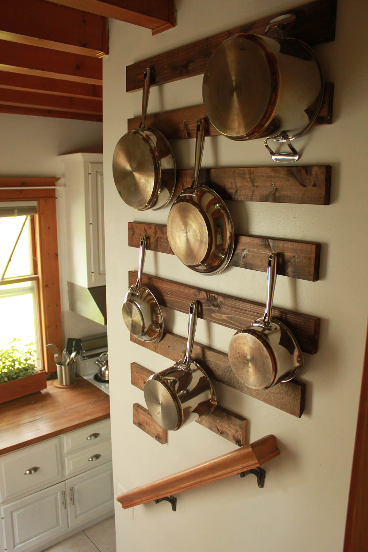 20. Wood Board Pot Hanging Rack