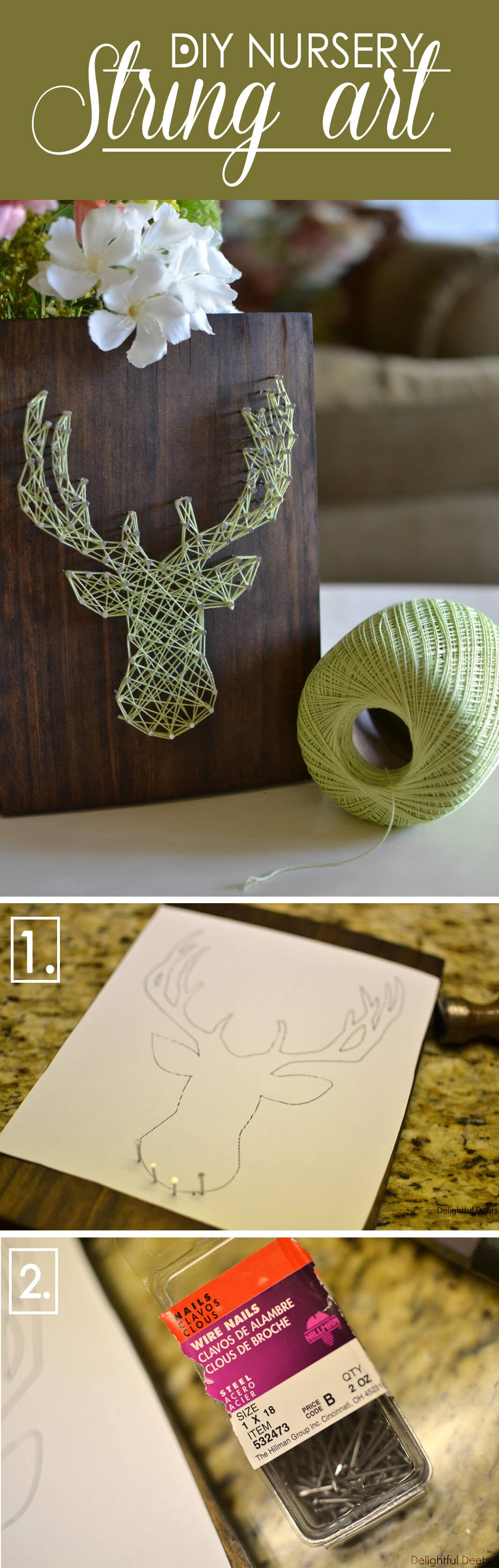 Deer Head String Art On Wood