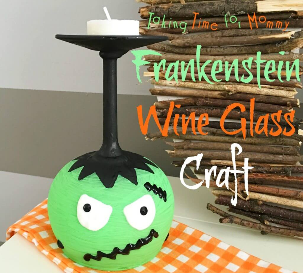 Frankenstein Halloween Wine Glass Craft