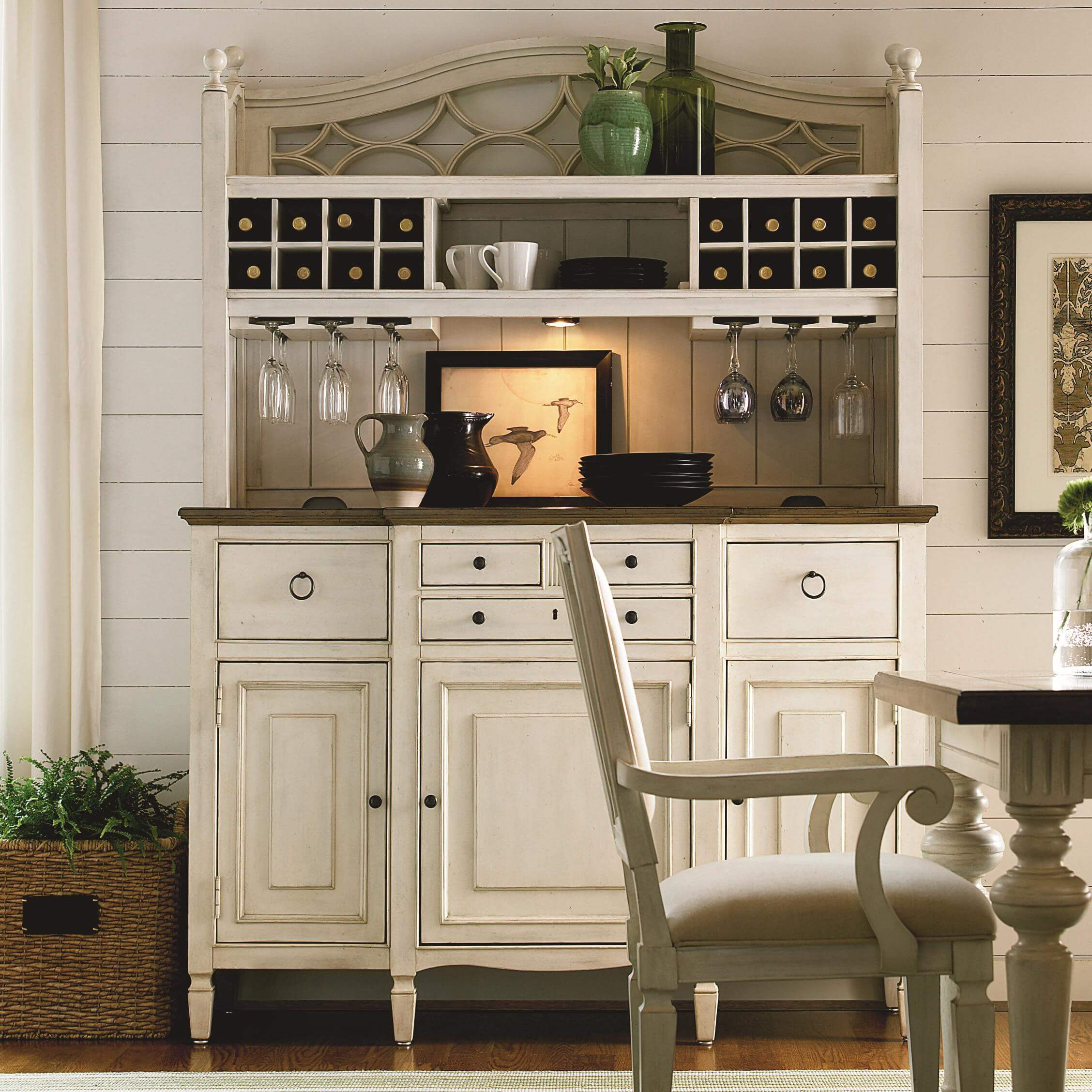 Shabby Chic Hutch with Built-in Wine Service