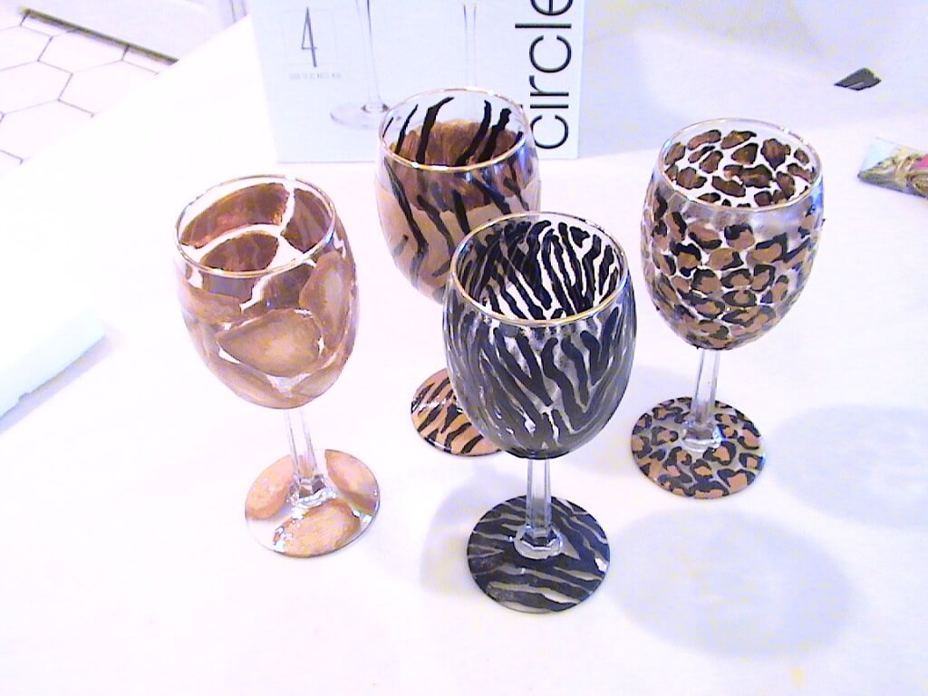 fun animal print wine glasses