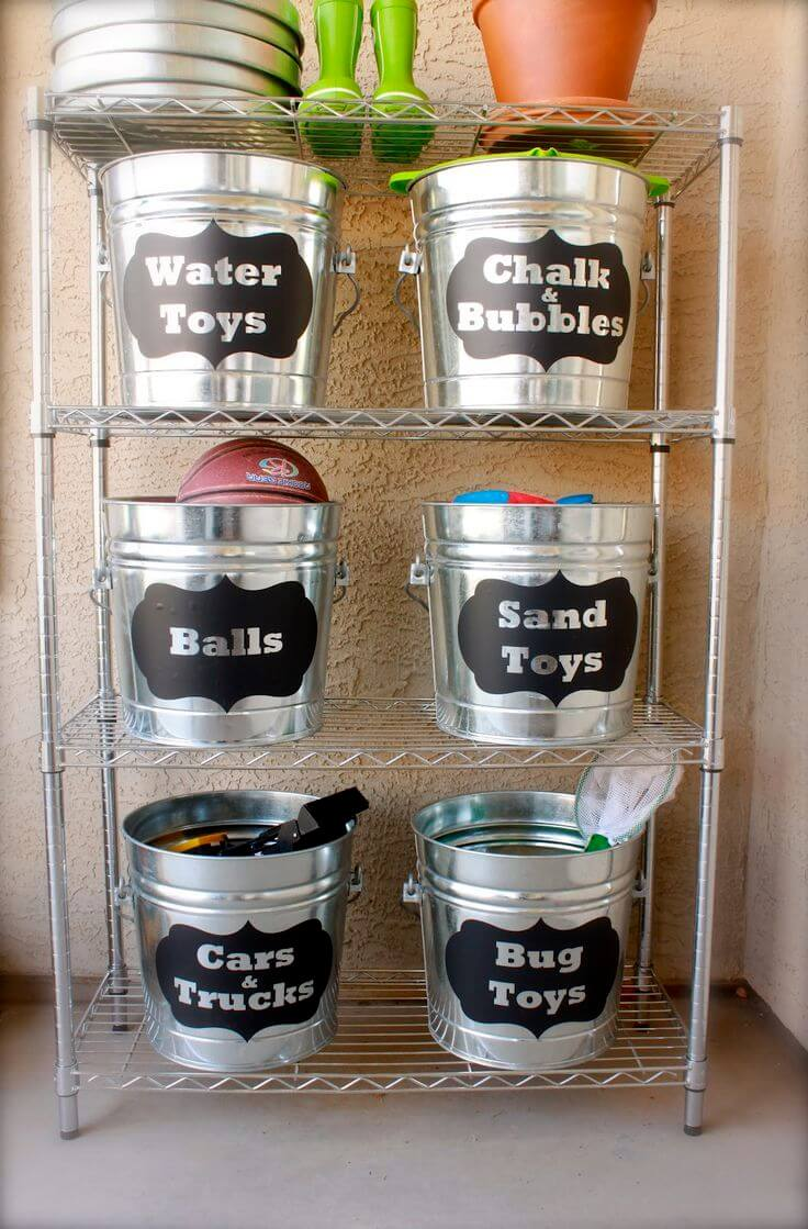 Fun Kids' Labeled Bucket Stash Rack