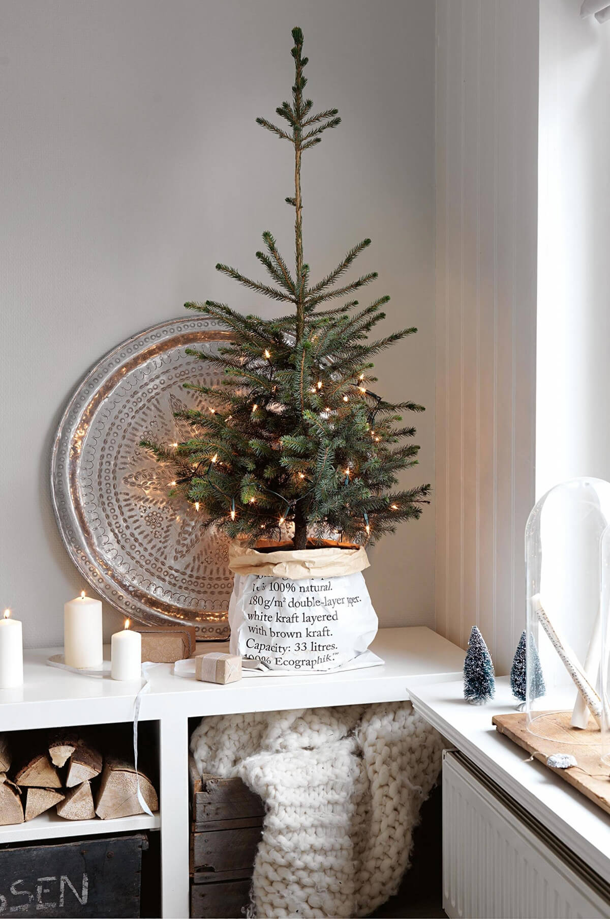 mini rustic potted christmas tree