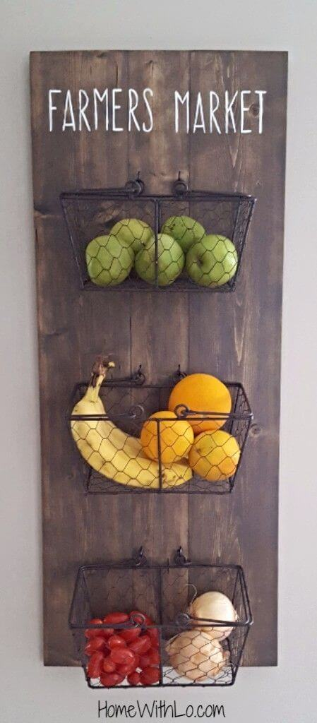 DIY Wall Mounted Produce Baskets