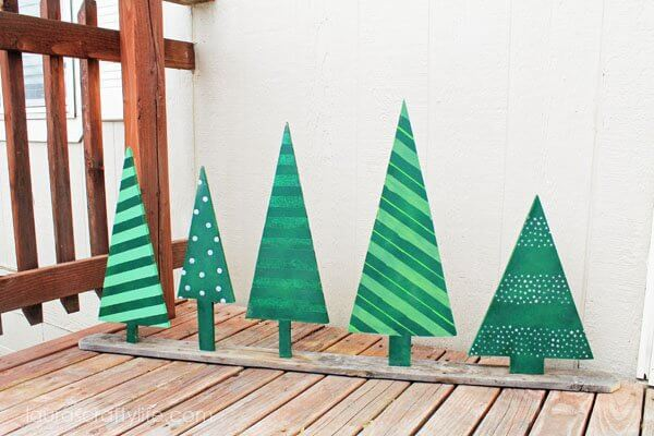Dots and Stripes Holiday Green Trees