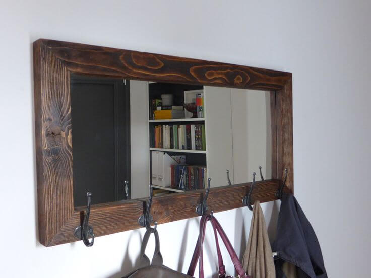 Simple Mission Style Mirror with Hooks