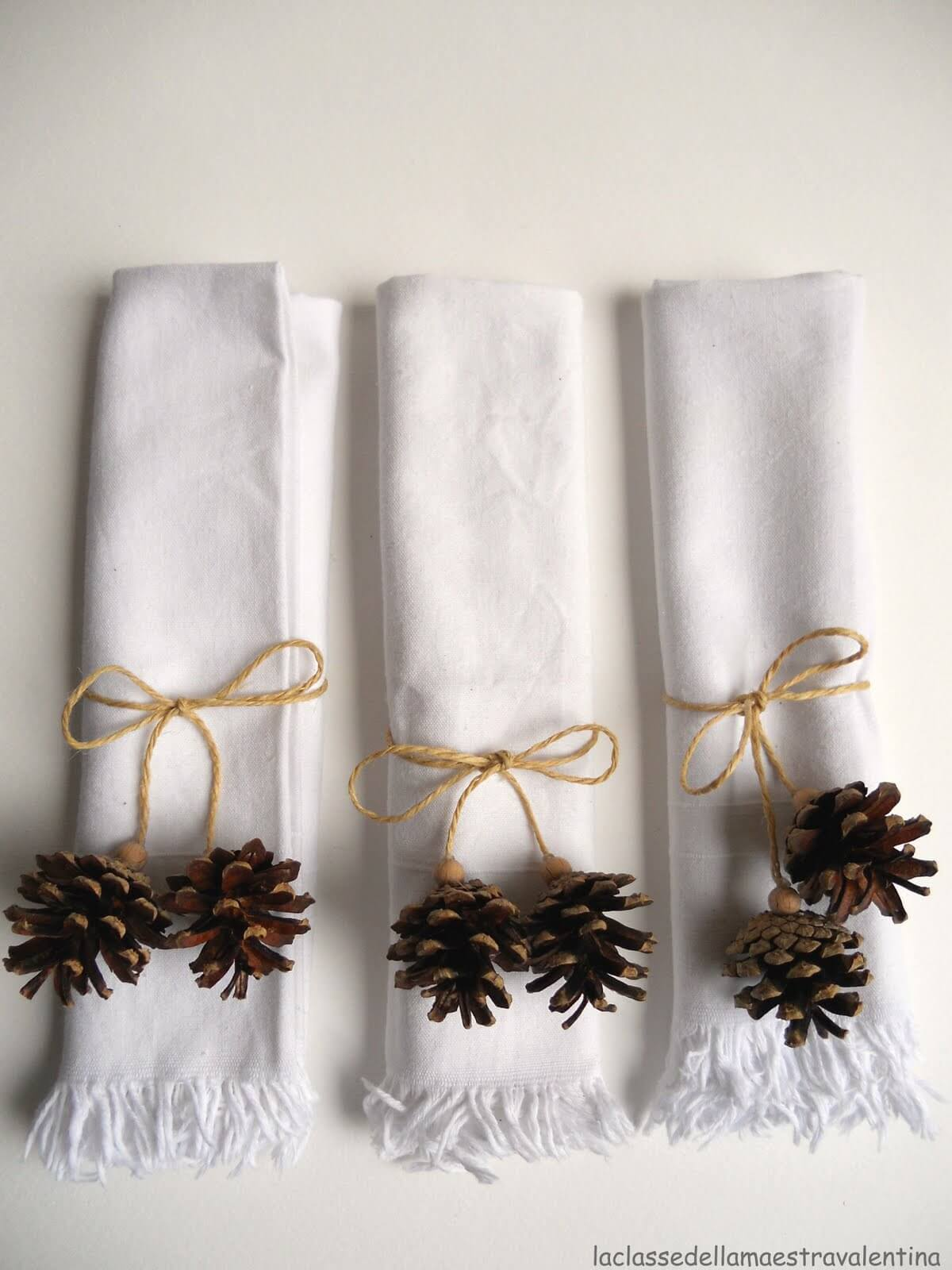 Pinecone Napkin Rings Tied With A Bow