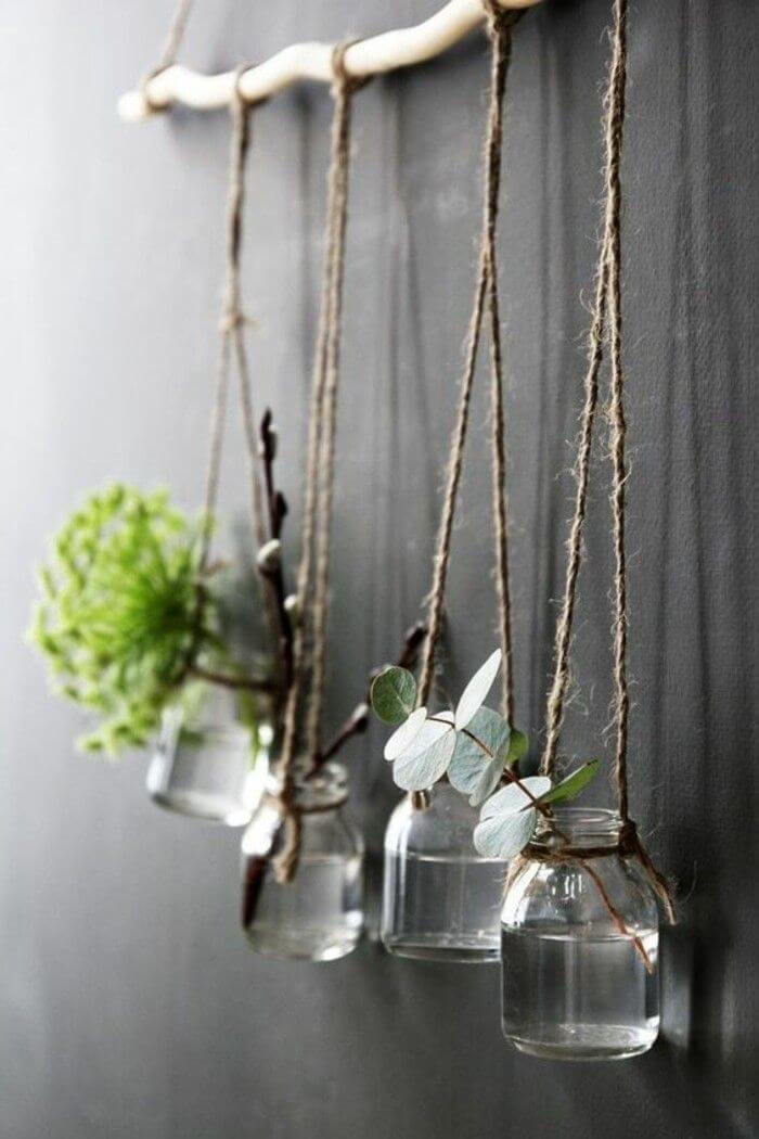 Eclectic Natural Mason Jar Hanging Vases