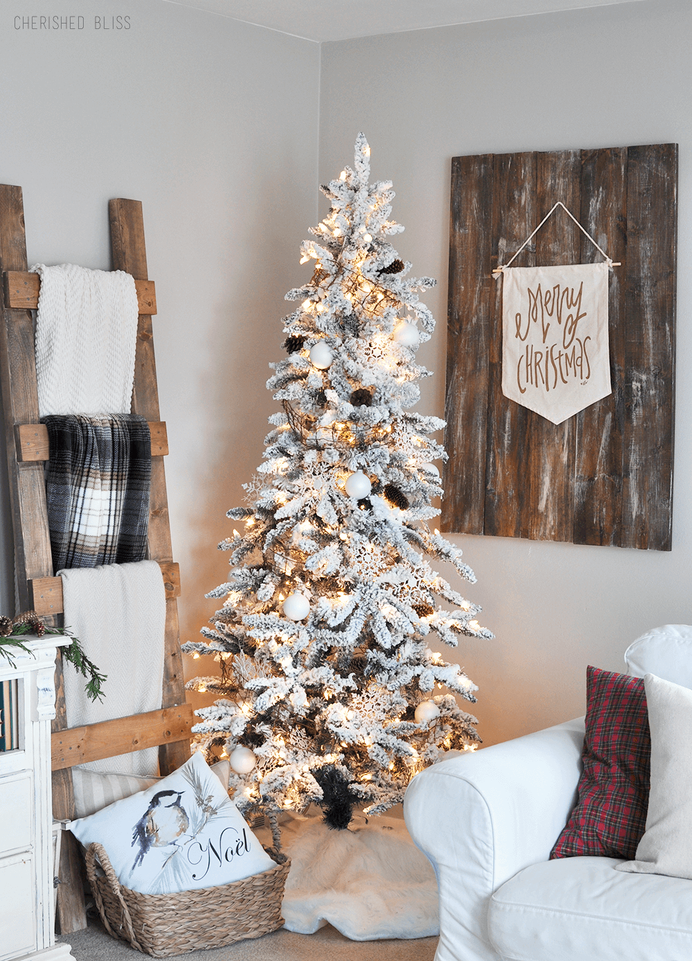 snowy white christmas tree inspiration - Farmhouse Christmas Decorating Ideas