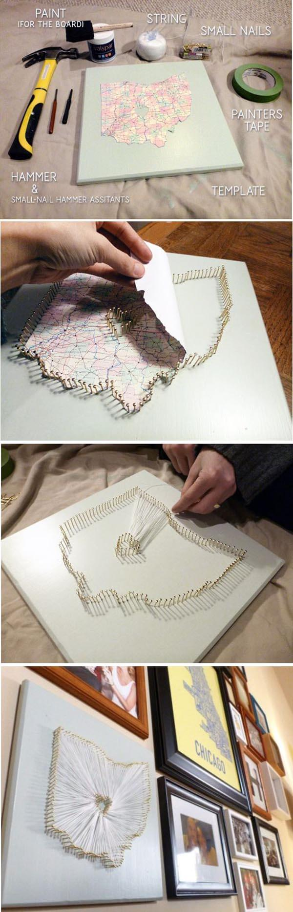 DIY State Shape String Art