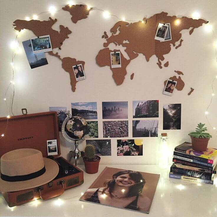 World Map Cork Photo Board