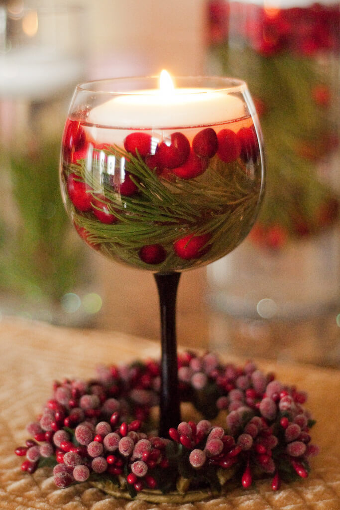 Holiday Floating Candle Wine Glass