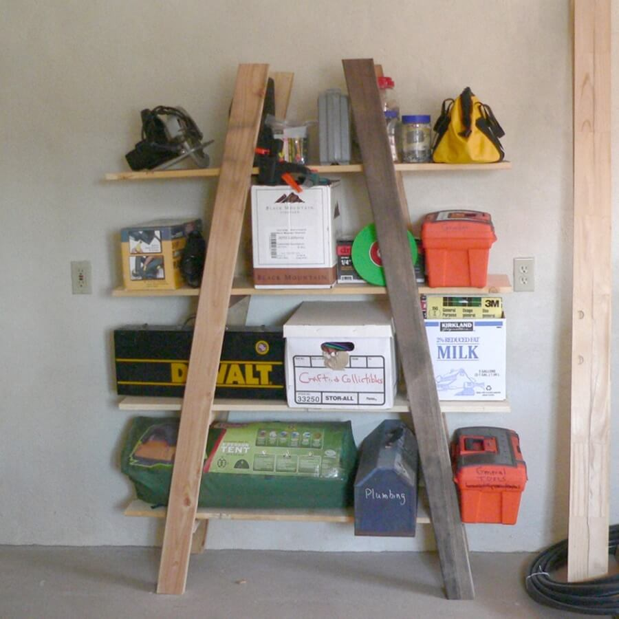 Rustic 2x4 Outdoor Supply Shelf