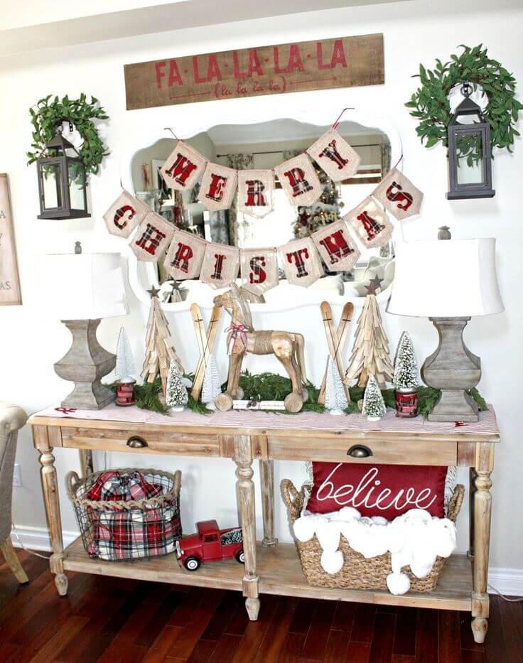 Red, White, and Wood Holiday Decor Inspiration