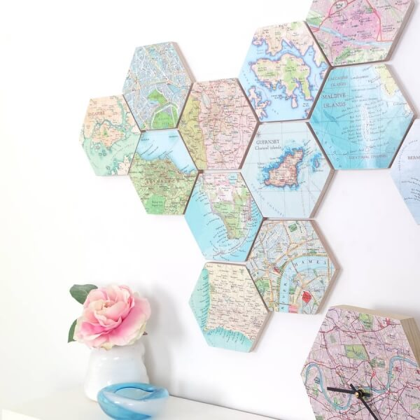 Hexagonal Travel Destination Wall Art