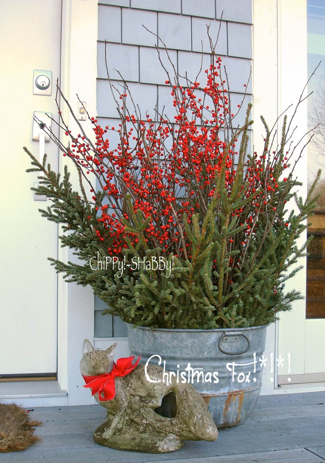 Metal Bucket Christmas Porch Planter