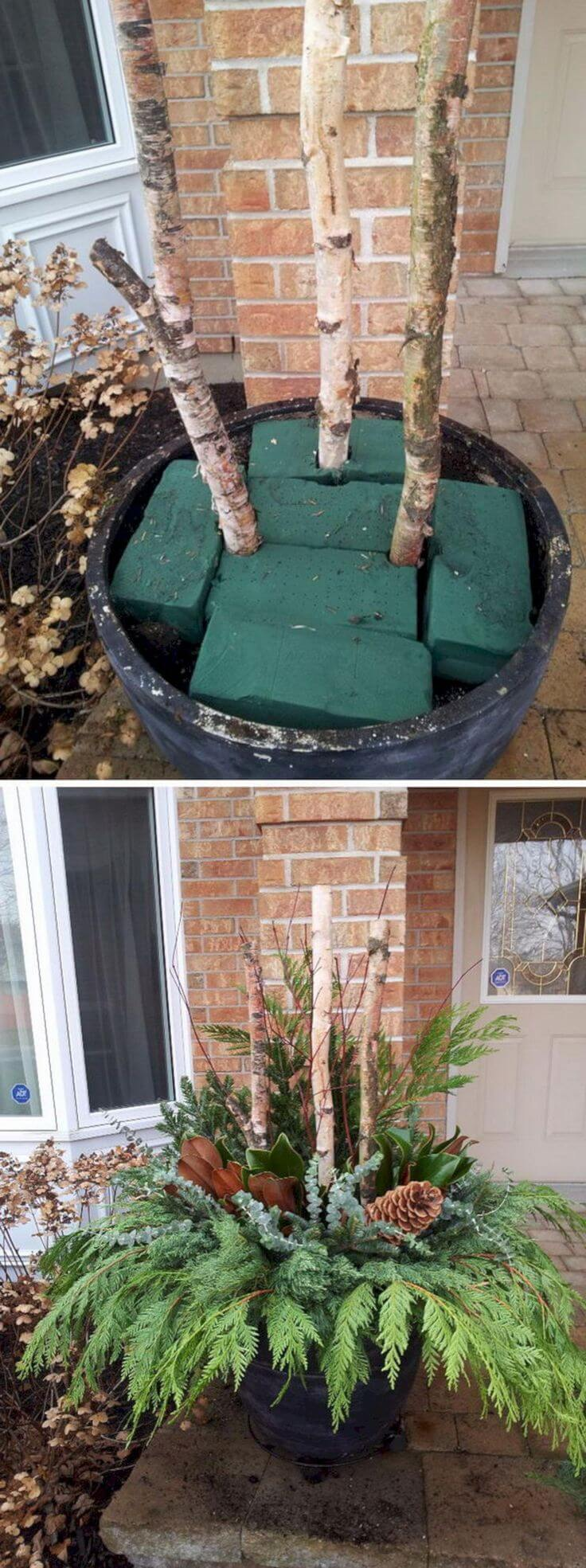 DIY Pine and Birch Branch Planter
