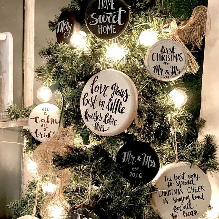 giant quote christmas ornaments - Farmhouse Christmas Tree Decorations