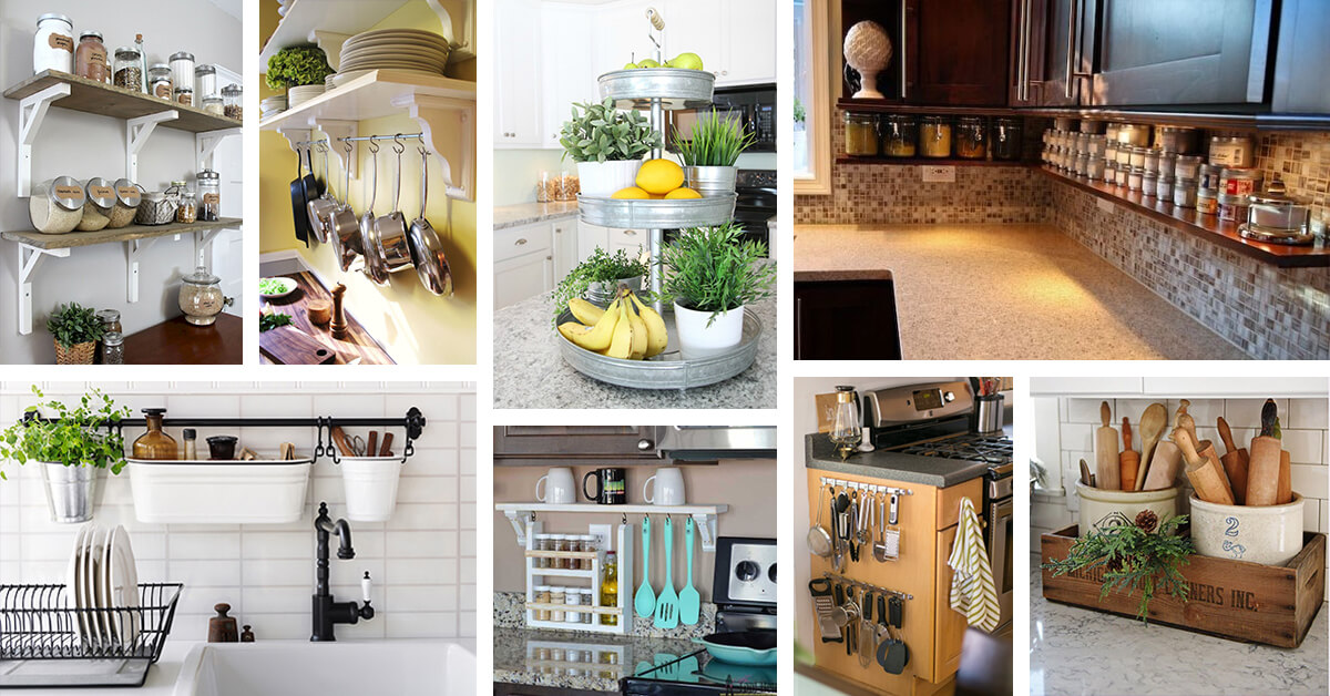 23 Best Clutter-Free Kitchen Countertop Ideas and Designs for 2019 Ideas For Cluttered Kitchen Counter on creative kitchen counter, burned kitchen counter, old kitchen counter, dirty kitchen counter, clear kitchen counter, crowded kitchen counter, messy kitchen counter, small kitchen counter, hazard kitchen counter, dark kitchen counter, clean kitchen counter, hot kitchen counter, organized kitchen counter, checkered kitchen counter,