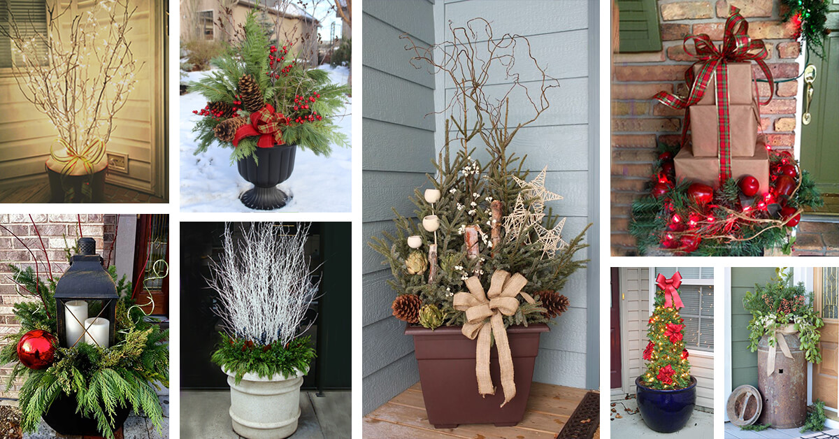 Christmas In Evergreen Truck.35 Best Outdoor Holiday Planter Ideas And Designs For 2019