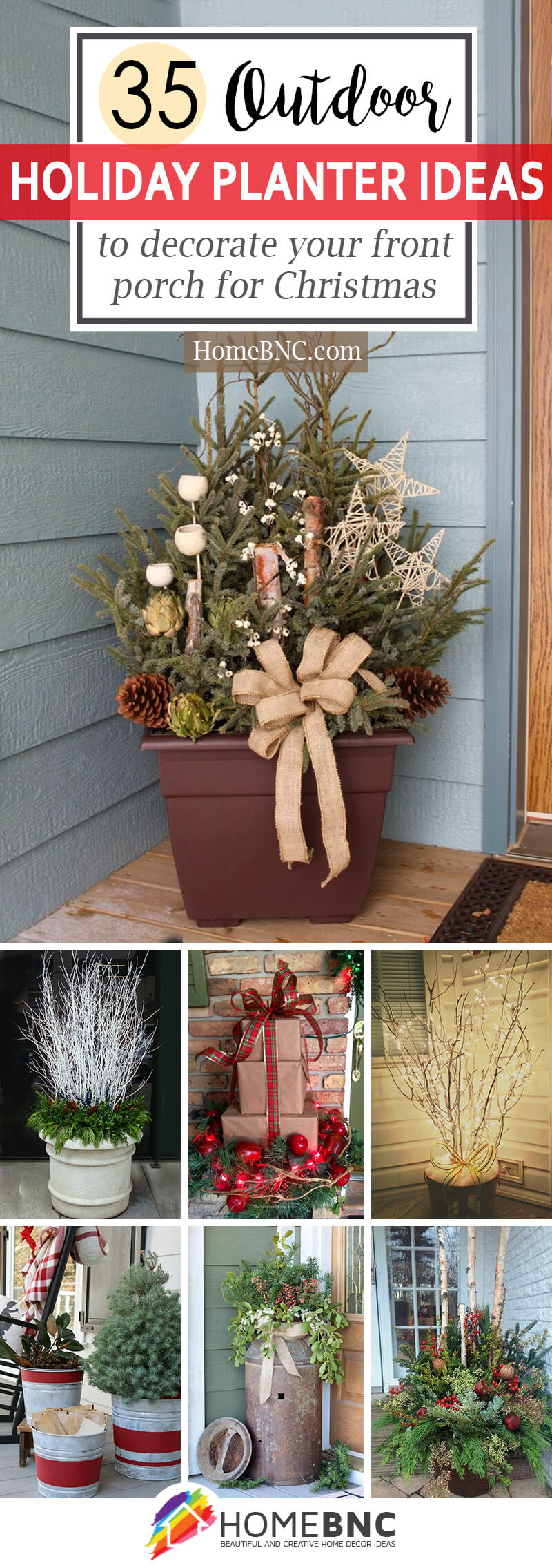 35 festive ways to decorate your front porch with these outdoor holiday planter ideas