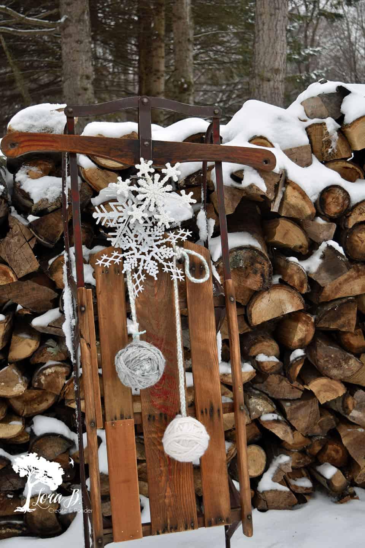 Winter Wonderland Snowflake Sled Christmas Decor