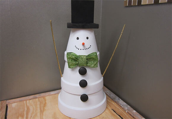 Stacked Terra Cotta Planter Snowman