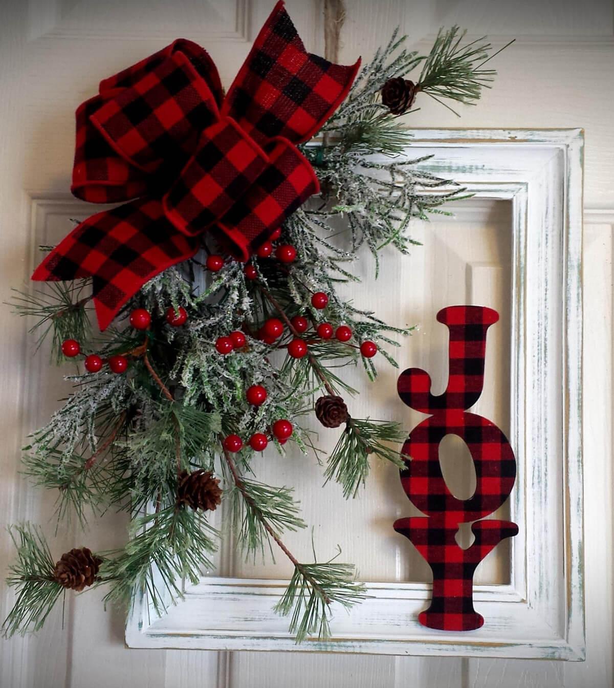 Joyful Plaid And Holly Holiday Frame