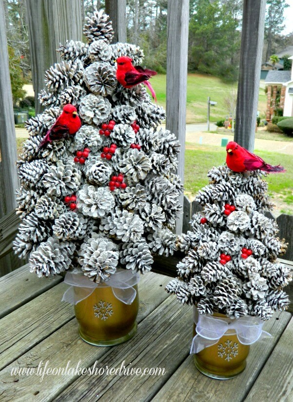 Flecked Pine Cone Topiary Trees