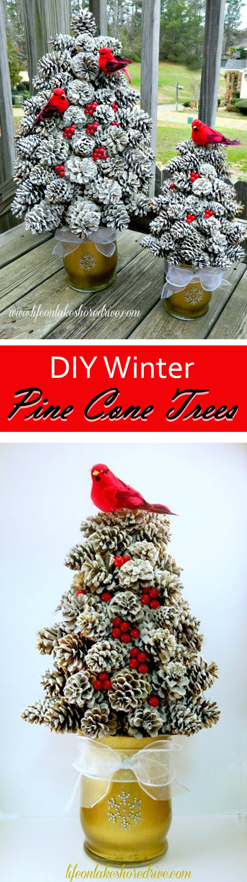 3 flecked pine cone topiary trees - Christmas Decoration Craft Ideas