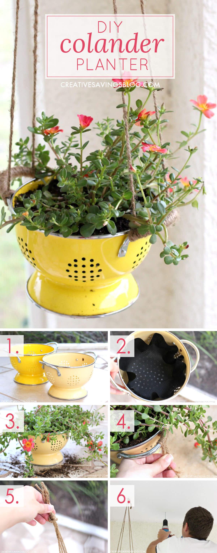 Floral DIY Colander Planter