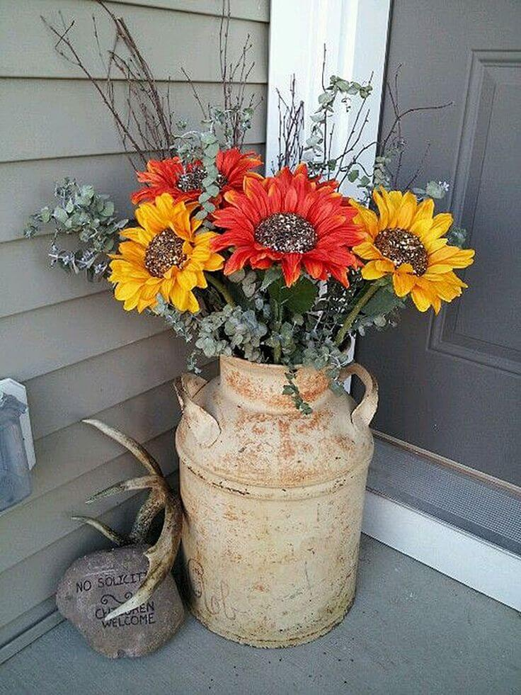 Sunflowers in a Milk Can