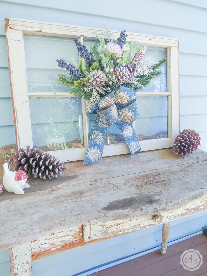 Old Fashioned Christmas Window Pane Decoration