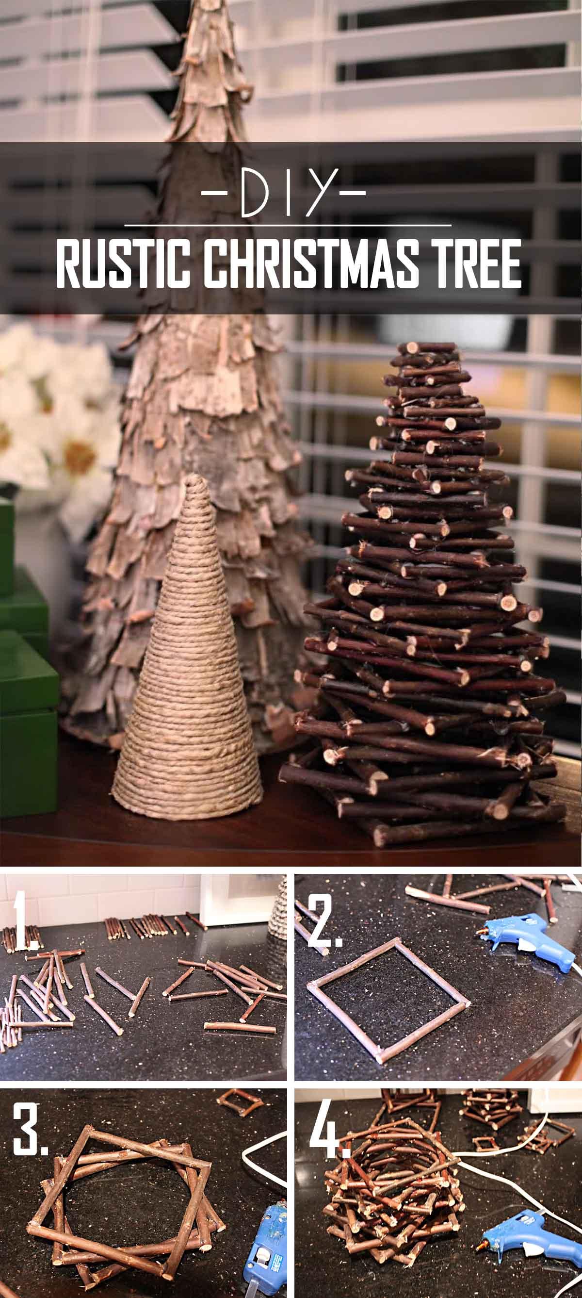 Twiggy DIY Rustic Christmas Tree