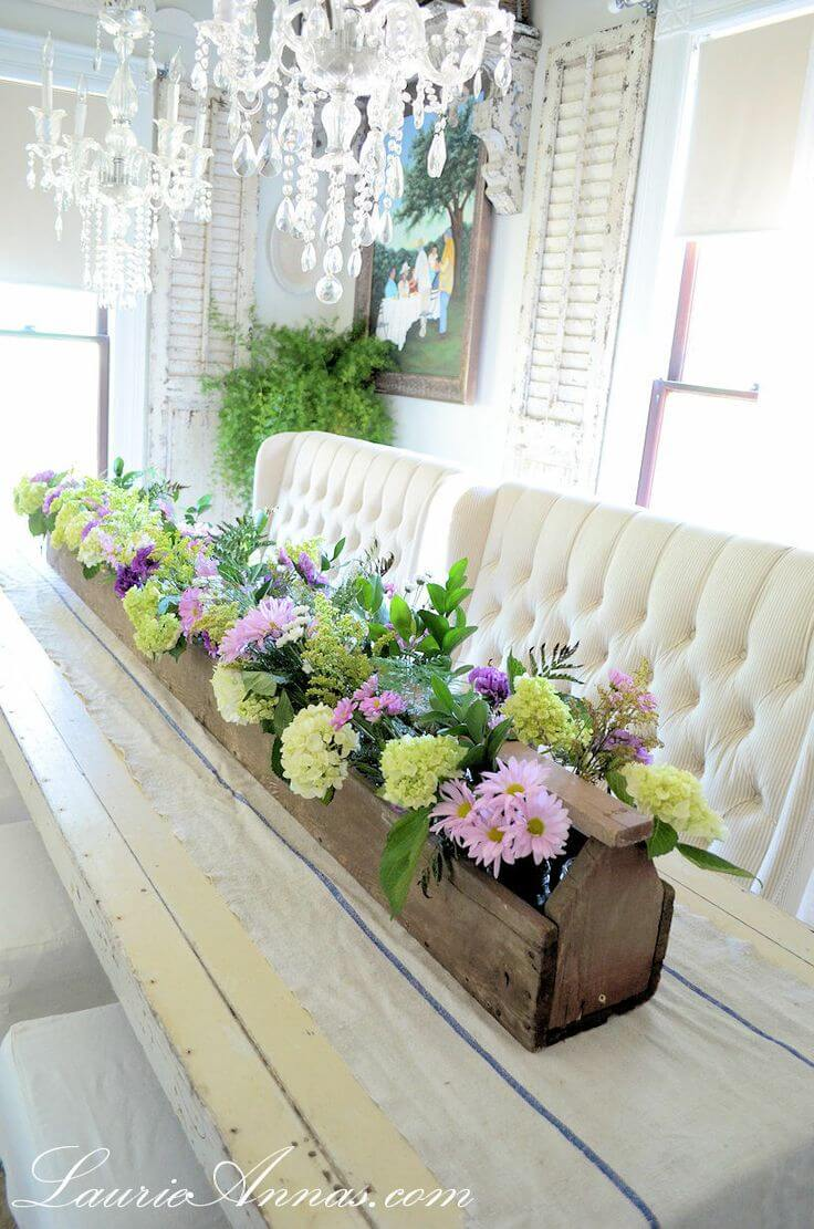 Shabby Chic Flower Trough Centerpiece