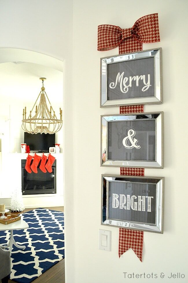 merry and bright christmas wall decoration - Christmas Wall Decoration Ideas