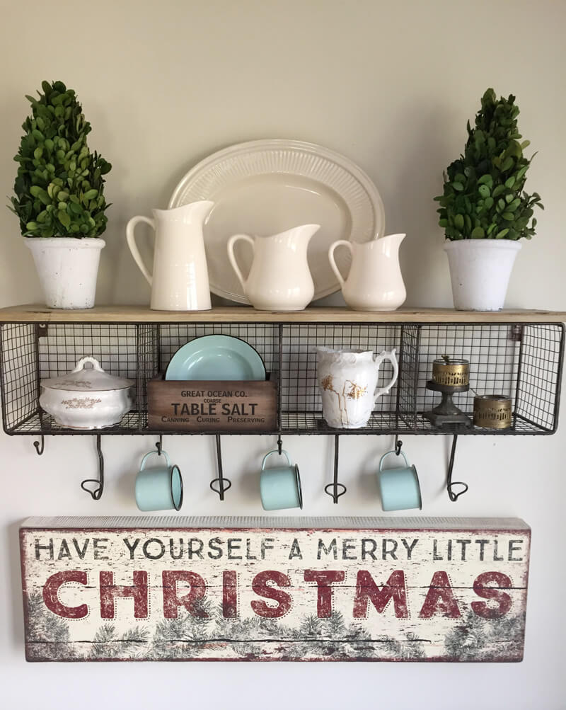 White Porcelain and Wire Country Christmas Display