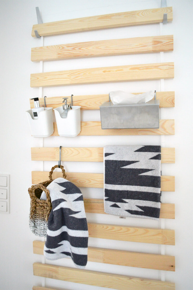 Light Wood Rack for Bathroom Supplies