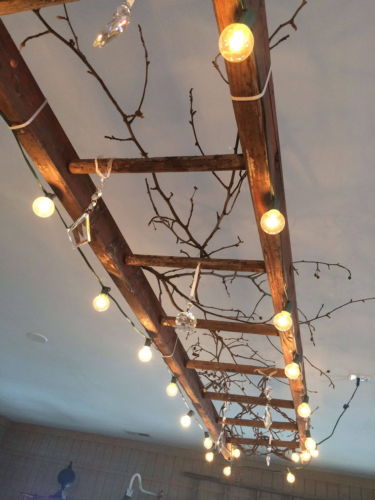 Rustic Ceiling Ladder Light Fixture