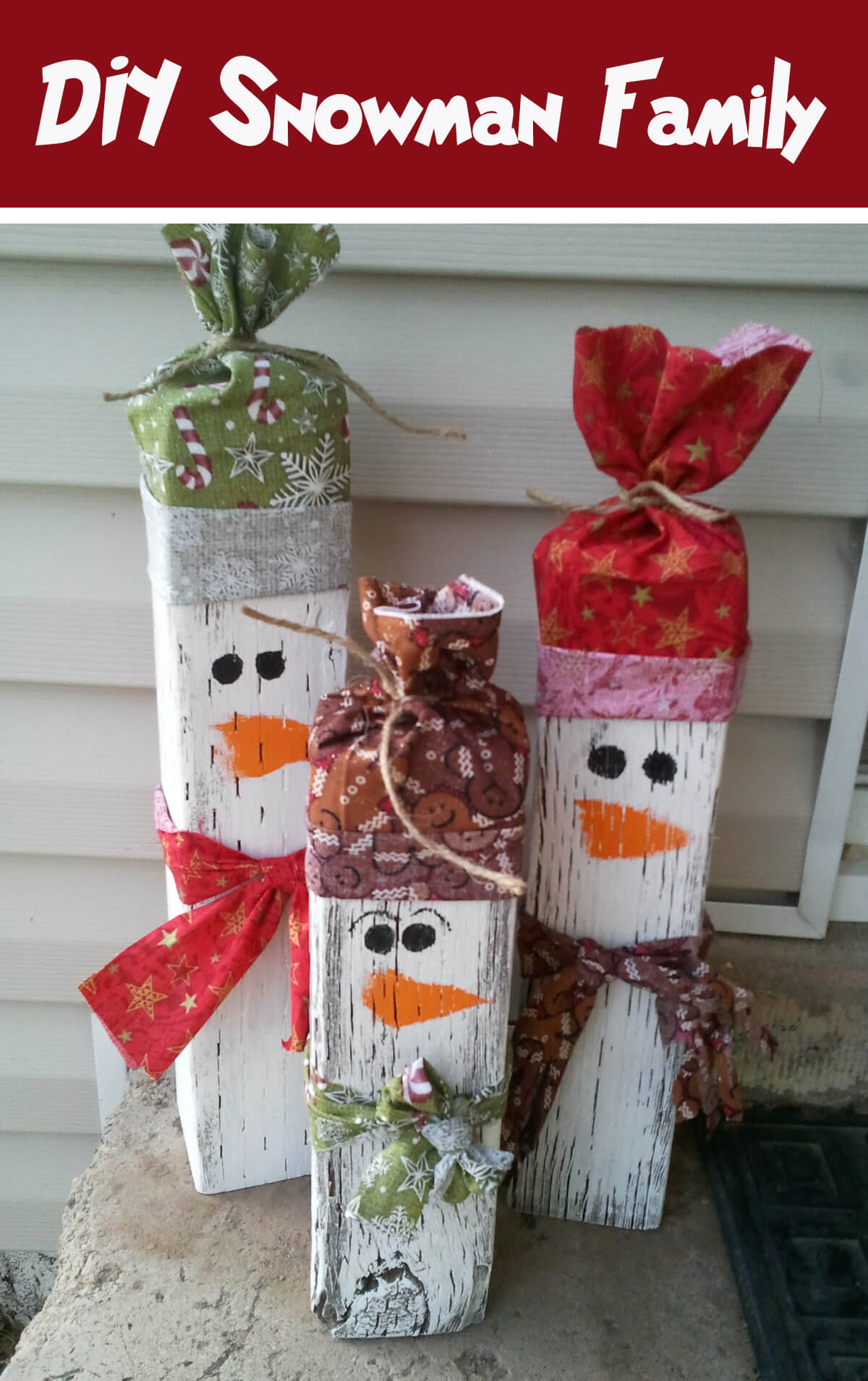 Super Cute Recycled Wood Snowman Family