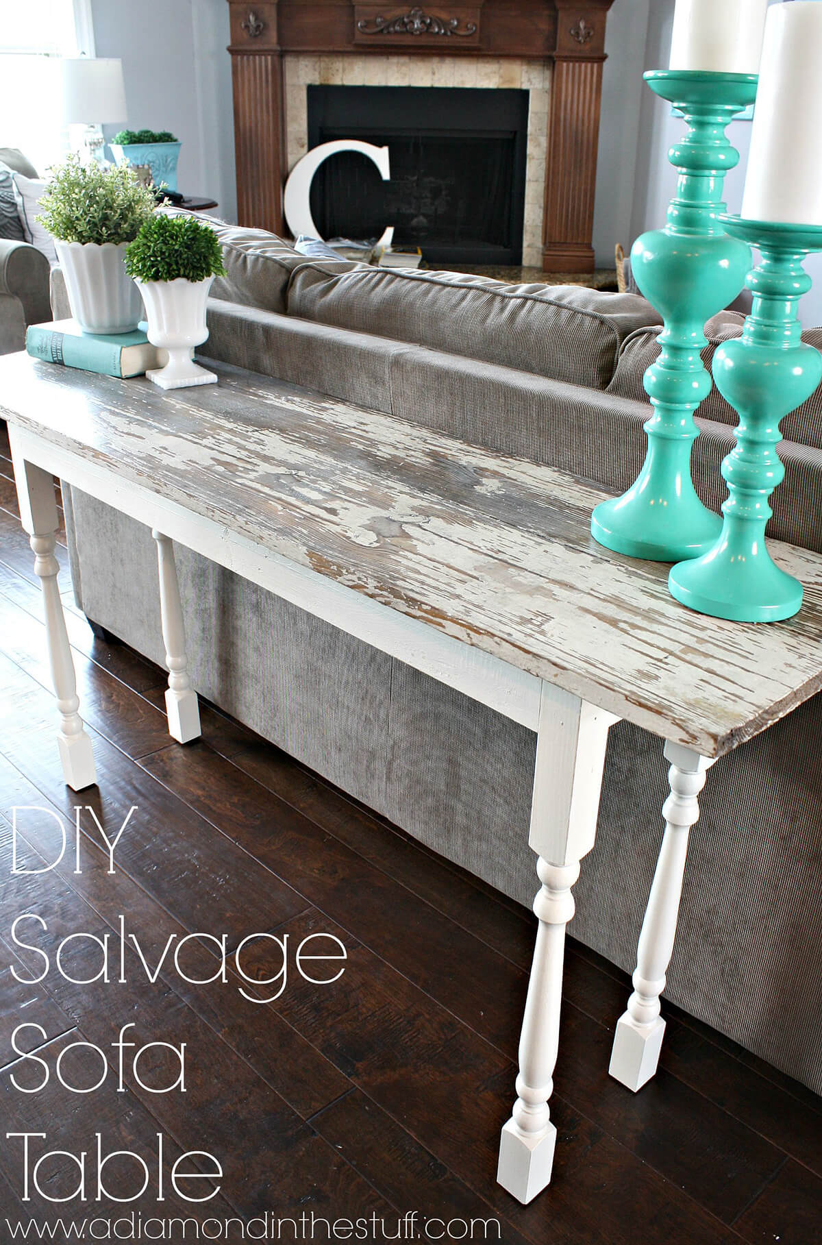 Salvage Plank Sofa Table with Spindle Legs