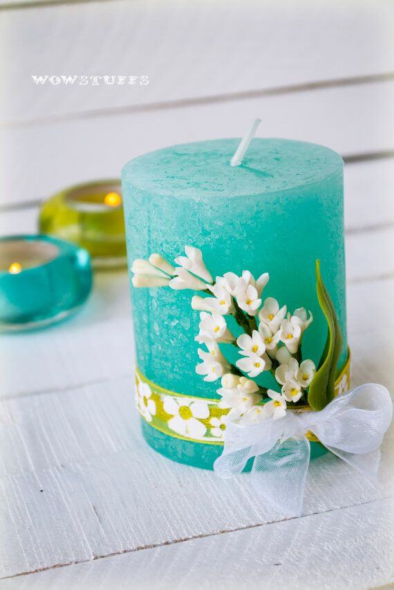 Transform a Candle with Faux Flowers and Ribbon
